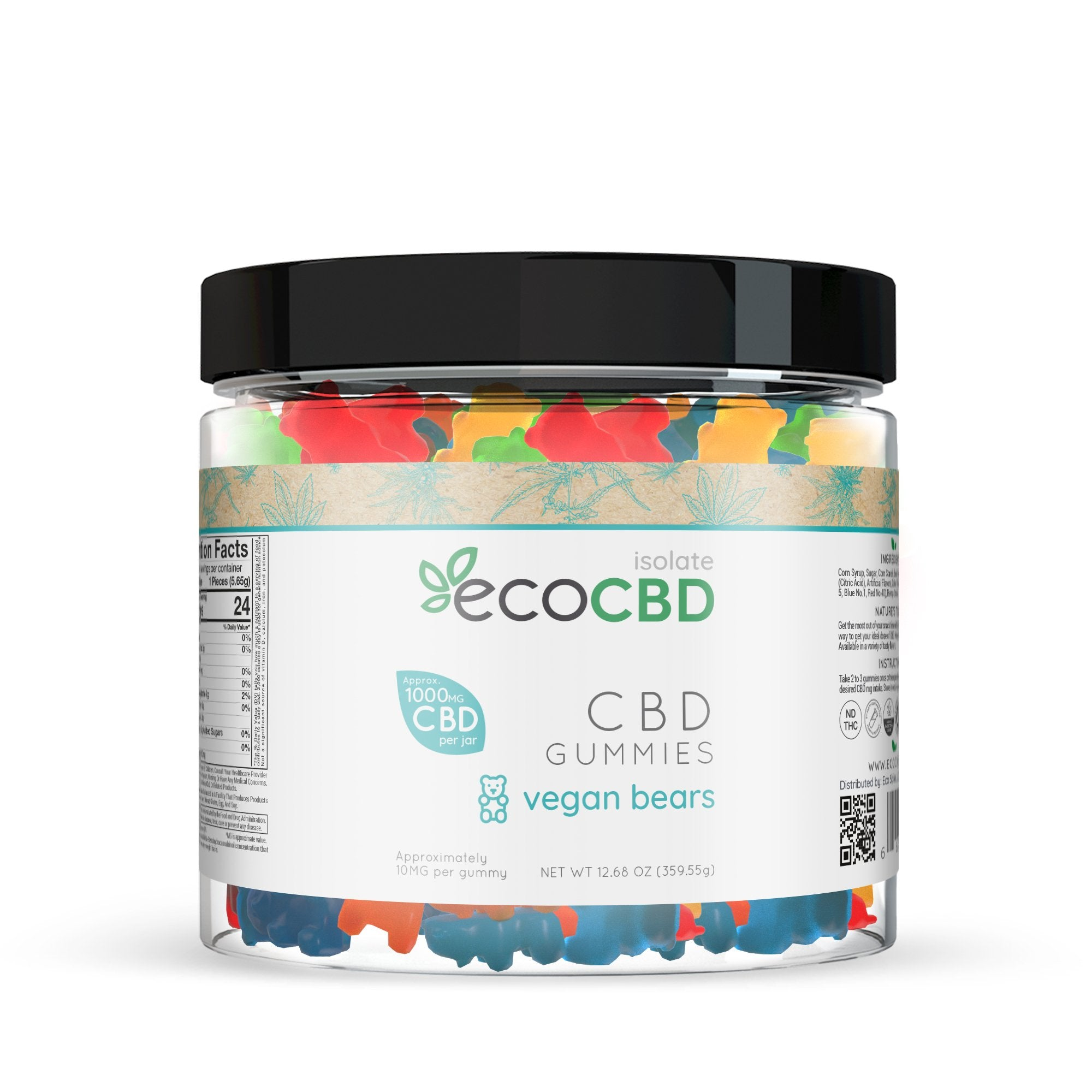 Eco CBD - CBD Isolate Vegan Gummy Bears - 1000mg