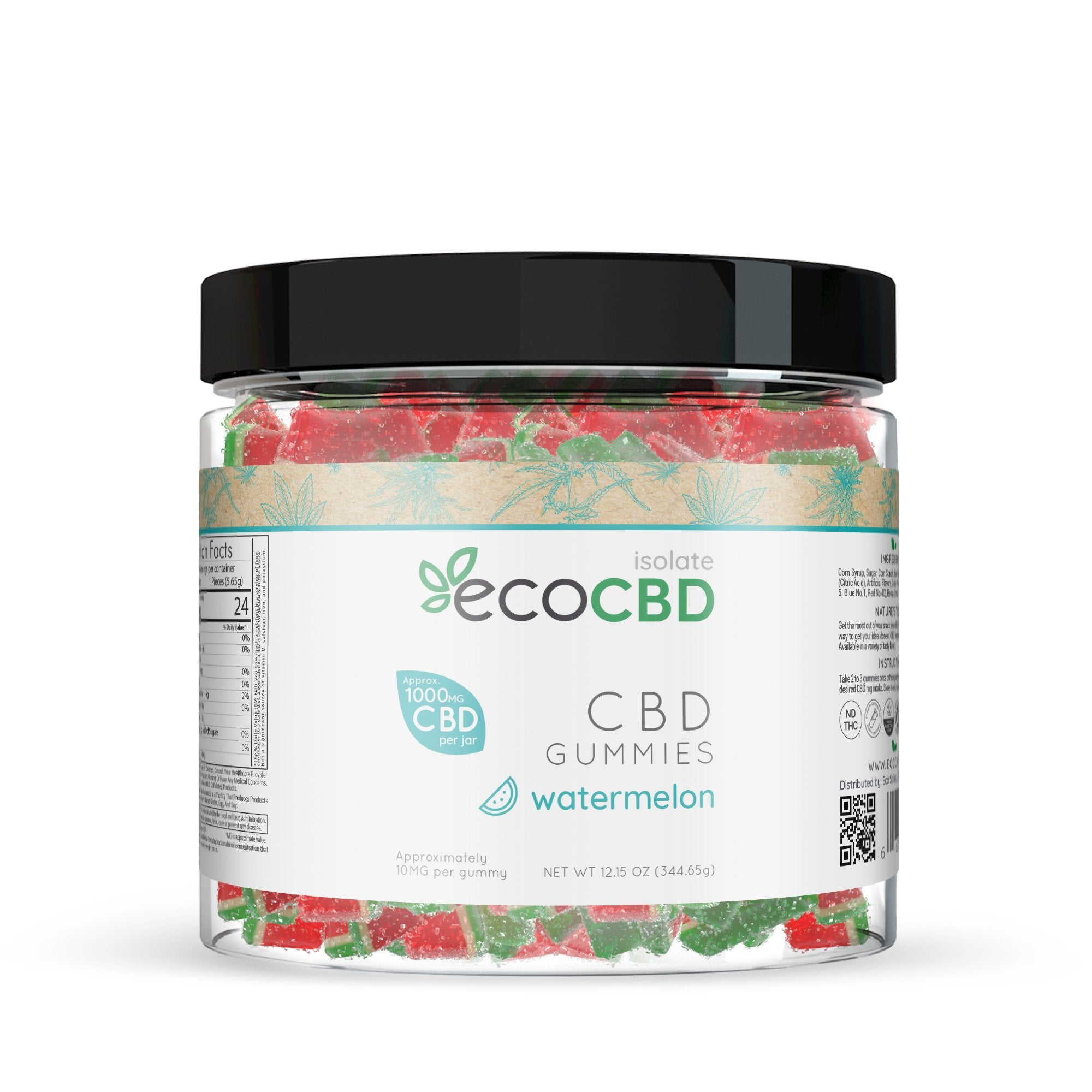Eco CBD - CBD Isolate Gummies - Watermelon Slices - 1000mg