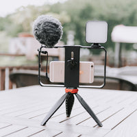 Yelangu PC204 Smartphone Video Rig Kit with Microphone + Light + Mini Tripod for Phone