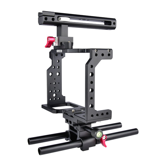 Yelangu C8 Camera Cage Top Handle Tripod Mount Plate 15mm Rod base for Canon Nikon Sony Panasonic