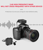 YELANGU MX5 Portable Wireless Microphone Lavalier Interview Recording for Mobilephone  DSLR Camera iPhone Xiaomi