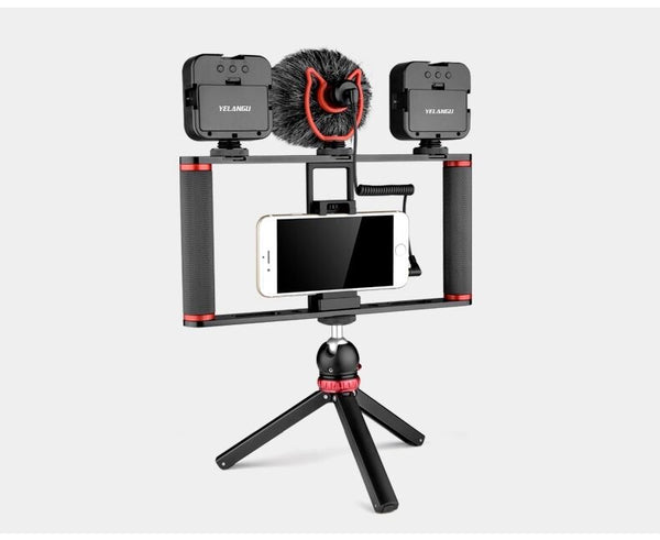 Yelangu PC502 Cell phone video vlog rig kit with microphone + tripod + ball head + 2 led light