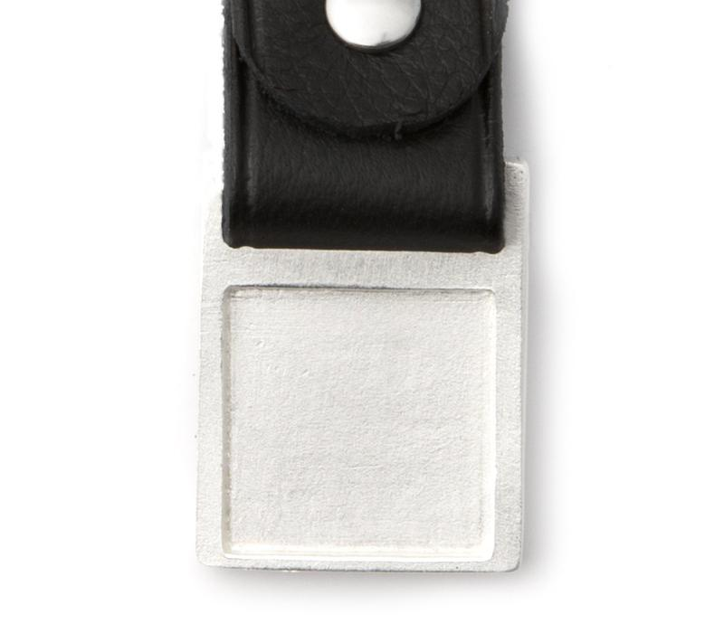 Rectangular Worry Stone Keyring with Leather Strap - Q