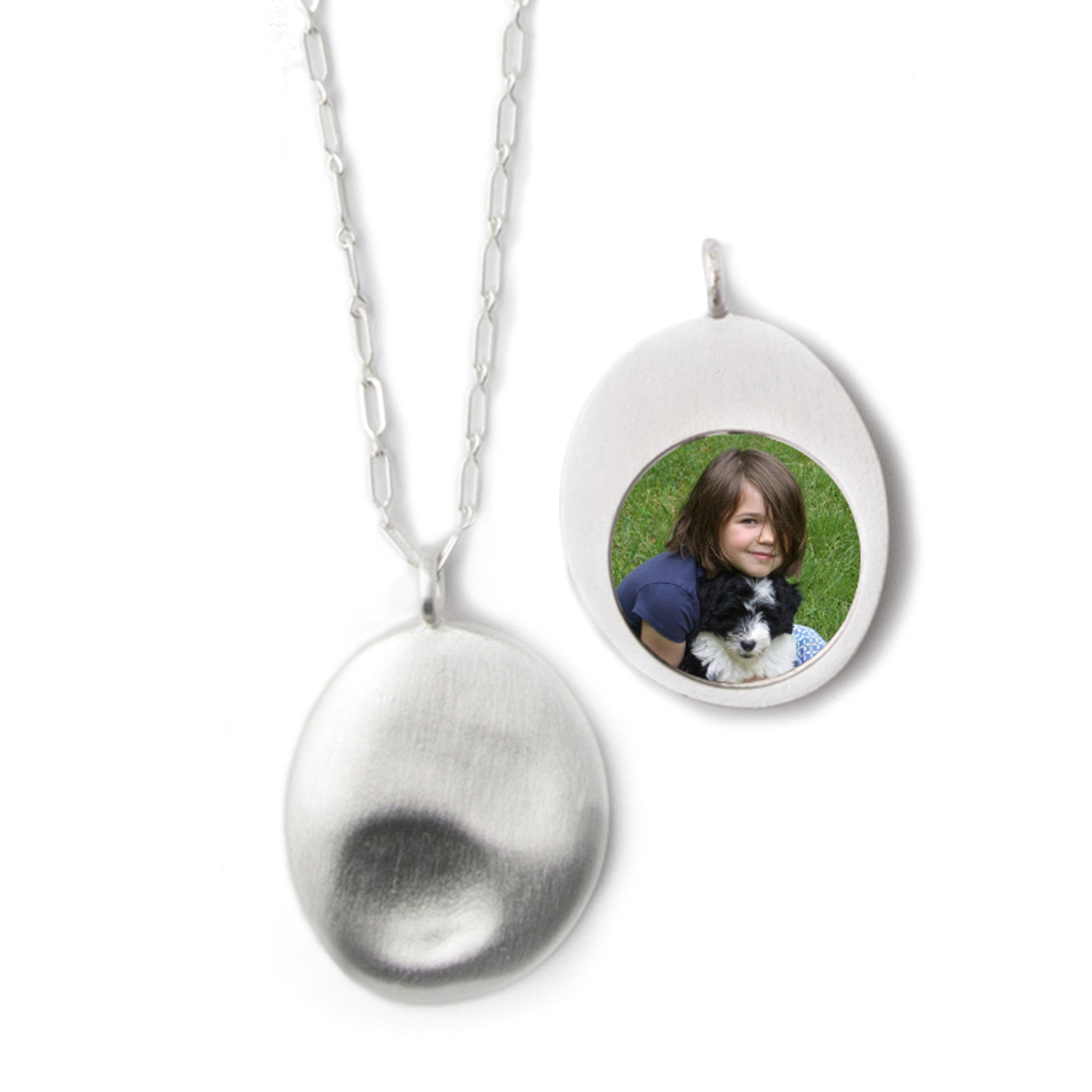 Large Silver Worry Stone Pendant
