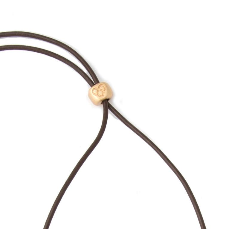 Medium Gold Worry Stone on Leather Cord