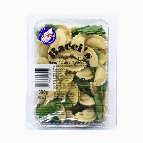 Bacci's Fresh Pasta - Four Cheese Agnolotti 500g - Bel & Brio Shop Online | Supermarket , Bottle Shop , Restaurant Deliveries