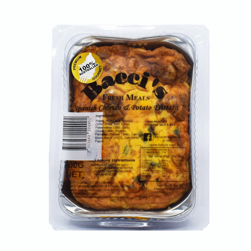 Bacci's Fresh Spanish Chorizo And Potato Frittata 700g - Bel & Brio Shop Online | Supermarket , Bottle Shop , Restaurant Deliveries