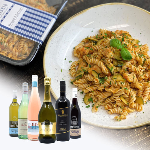 2 Prawns & Zucchini Fusilli + Bottle Of Wine