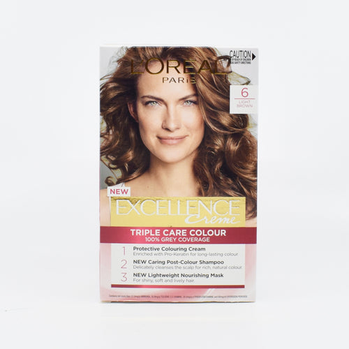 L'Oreal Paris Excellence Triple Care Hair Colour (6 Light Brown) - Bel & Brio Shop Online | Supermarket , Bottle Shop , Restaurant Deliveries