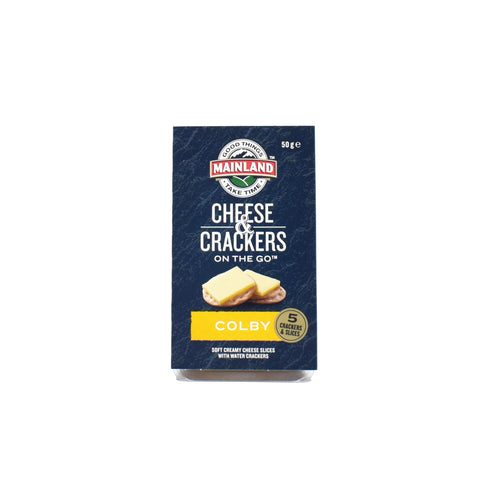 Mainland Cheese & Crackers On The Go - Colby 50g - Bel & Brio Shop Online | Supermarket , Bottle Shop , Restaurant Deliveries
