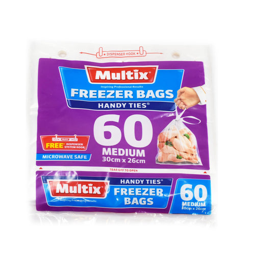 Multix Freezer Bags Medium (60 Pack 30cm x 26cm) - Bel & Brio Shop Online | Supermarket , Bottle Shop , Restaurant Deliveries