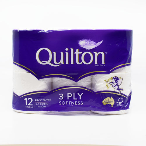 Quilton 3 Ply Toilet Roll (12 Rolls / 180 Sheets) - Bel & Brio Shop Online | Supermarket , Bottle Shop , Restaurant Deliveries