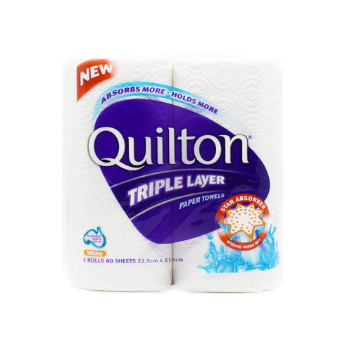 Quilton Triple Layer Paper Towels (2 Rolls x 60 Sheets) - Bel & Brio Shop Online | Supermarket , Bottle Shop , Restaurant Deliveries