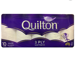 Quilton 3 Ply Toilet Roll (10 Rolls / 180 Sheets) - Bel & Brio Shop Online | Supermarket , Bottle Shop , Restaurant Deliveries
