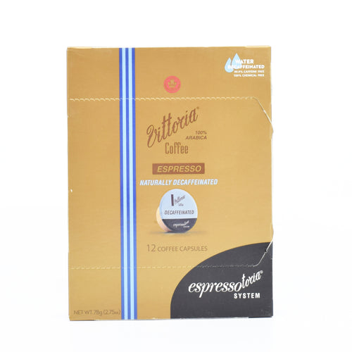 Vittoria Coffee Espresso Naturally Decaffeinated (12 Coffee Capsules)