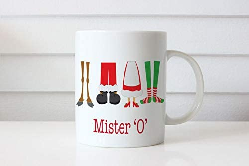 Personalised Christmas Teachers Gift Coffee Mug Kids Novelty Christmas Custom Name