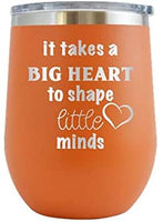 It Takes A Big Heart to Shape Little Minds - Engraved Tumbler Wine Mug Cup Unique Birthday Gift Graduation Gifts for Men or Women Teacher Professor Teach School High Middle (20oz skinny, Navy)