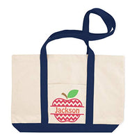 Custom Canvas Shopping Tote Personalized Name Apple Fruit Teacher H Fruit Beach Bags for Women