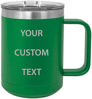 Personalized Add Your Custom Text Insulated 15 Oz Coffee Mug Customizable (Teal)