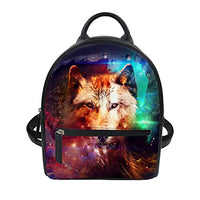 Mumeson Wolf Print Women Casual Purse Mini Backpack Rucksack Girls Shoulder School Bag