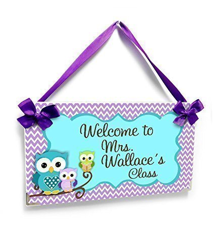 Personalized Office Door Name Plaque, Cute Owls in Purple Chevron and Teal Accents