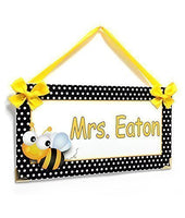 Personalized Door Hanger for Classroom Black and White Dotted Bee Theme