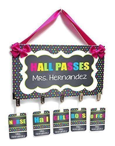 Personalized Hallpasses Sign and Badges Colorful Small Polka Dots with Dark Grey Shabby Frame