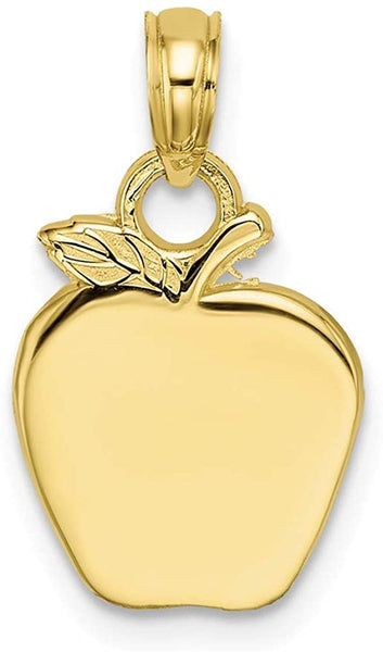 10k Yellow Gold Apple Pendant Charm Necklace Career Professional Teacher Fine Jewelry For Women Gifts For Her