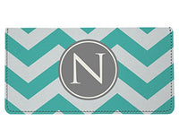 Snaptotes Personalized Monogram Teal Chevron Checkbook Cover
