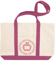 Canvas Shopping Tote Bag The Best Teachers Teach from Heart Profession Red Apple Beach for Women