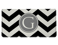 Personalized Monogram Black Grey Chevron Checkbook Cover
