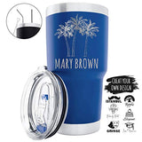 Personalized Double Wall Vacuum Insulated Travel Tumblers Create Your Own Design Stainless Steel 20 oz Coffee Cup with Lid, Optional Straw Set TEAL