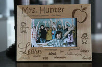 Qualtry Personalized Wood Picture Frames Custom Engraved with Teacher's Name - Great Teacher Appreciation Gift