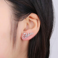 Personalized Custom Engraved Name Stud Earrings with Crown or Heart Customize Your Own Earring with Name