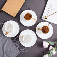 LRHD Ceramic Coffee Cups And Saucers Sets With Spoon, Unique Personalized Birthday Gift Ideas For Women Mom Grandma Teachers Hot Beverages Elegant Modern Tea Cups And Saucers Set