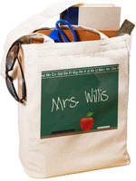 "GiftsForYouNow Teacher Personalized Canvas Tote Bag Chalkboard Design, Cotton, 16""H"