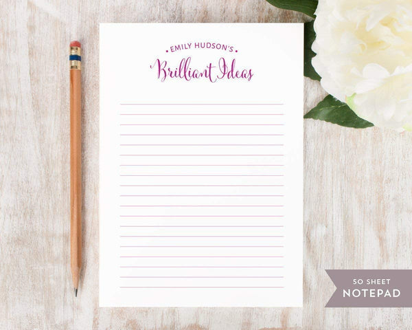 BRILLIANT IDEAS NOTEPAD - Personalized Everyday Stationery/Stationary 5x7 or 8x10 Note Pad