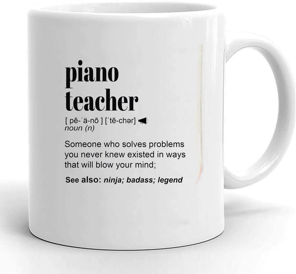 Personalized Piano Teacher Gift Mug For Women and Men, For Birthday, Appreciation, Thank You Gift, A Custom Name Coffee Mug