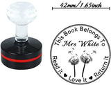 This Book Belongs to Read it Love it Return it Rubber Stamp-Personalised Self Inking Return Teacher Stamp-Individual Heart Love Shape Dandelion Design Lable-Round 1.65inch 1pc Signet-Halloween Gift