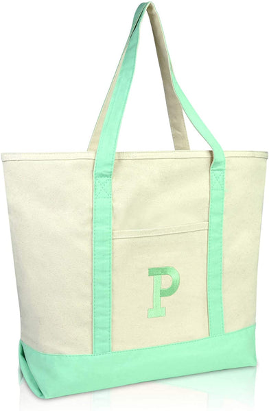 DALIX Initial Tote Bag Personalized Monogram Mint Green Zippered Top Letter - P