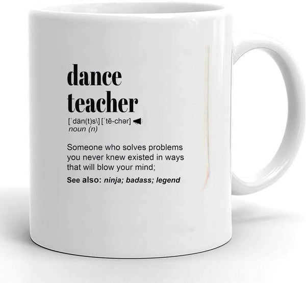 Dance Teacher Gifts for Women & Men l For Ballet Teacher, Coach l Appreciation, Thank You Gift l Personalized Custom Name Coffee Mug