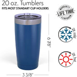 Personalized Tumblers, Rose Gold Stainless Steel 20 oz Tumbler w/Lid | 18 Different Designs | Personalized Cups Double Walled Insulated Coffee Cup for Travel, Work, Gym, Fitness|Hot and Cold Drink Use
