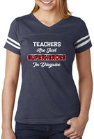 Teachers are Superheroes Funny Back to School Gift Women Football Jersey T-Shirt Small Navy/White