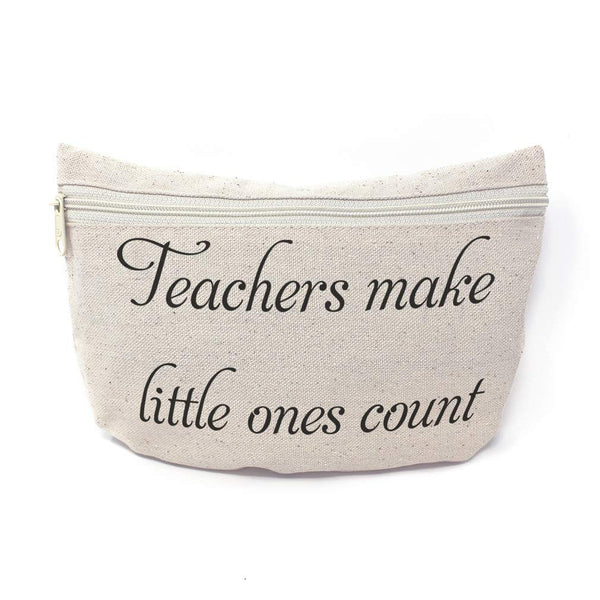 Custom Canvas Makeup Bag Teachers Make Little Ones Count Profession School Supplies Pencil Canvas Tote Pouch 9x6 Inches Natural Personalized Text Here