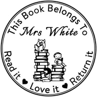 Personalised This Book Belongs to Read it Love it Return it Heart Shape Design Handmade Stamp-Custom Self Inking Teacher Stamps-Homework Feedback Review-Teachers' Day or Christmas Gifts