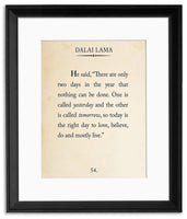 Dalai Lama Book Page Style Literary Quote Print. Fine Art Paper, Laminated, or Framed. Multiple Sizes Available for Home, Office, or School.