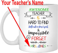 Personalized Awesome Teacher Gift Mug, Customize Name Mugs. Best for Math PE Art History Teachers to Travel or Decor Desk. Appreciation for New Retiring Teachers. Travel Beer Mug for Men Women (White)