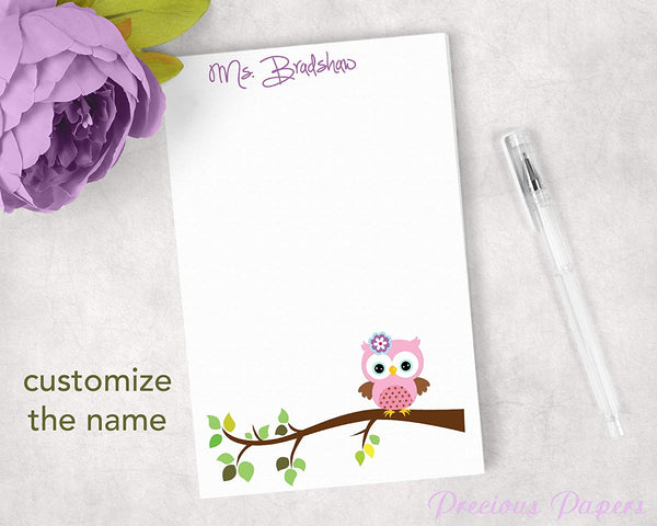 Personalized Pink and Purple Owl Notepad, Teacher Gift, Owl Gift