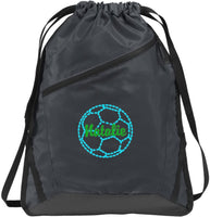 Personalized Soccer Shoulder Bag with Custom Text | Zip-It Cinch Backpack with Customizable Embroidered Monogram Design (True Red/Black)