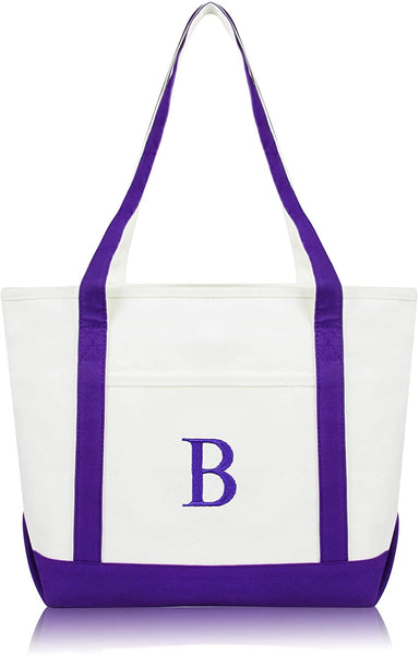 "DALIX 20"" B-Initial Tote Bag Monogrammed Cotton Canvas in Gray"